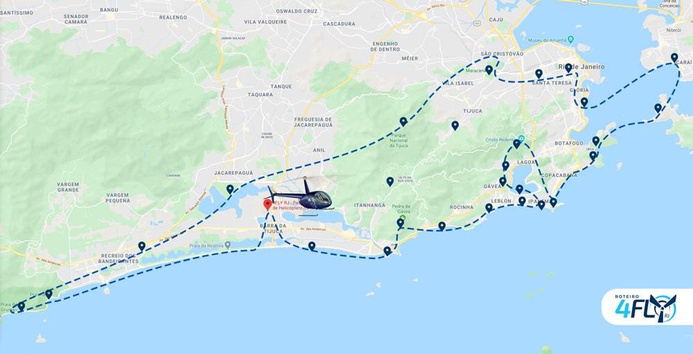 Mapa voo 60 minutos 4FLY RJ